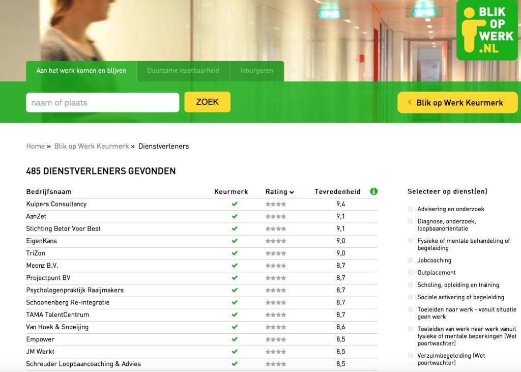 Blik op werk, nr 1 landelijke ranking Kuipers Consultancy